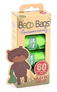 Beco Bags - 60 Large Unscented Poop Bags for Dogs - Eco-conscious and Degradable by Beco Pets