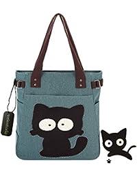 Back To School Suministros Essentials 2017 valentoria® Cute Fat diseño de gato Multifunction Mujer de Lona Cierre de cremallera bolso de mano bolsa para el almuerzo con gran capacidad mejores regalos para Teen Girls