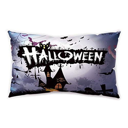 Blakww Halloween Party Rectangular Cushion Cover Bat Castle Witch Printing Double-Sided Soft Plush Pillowcase 30 x 20 inhces (Nyc Club Halloween)