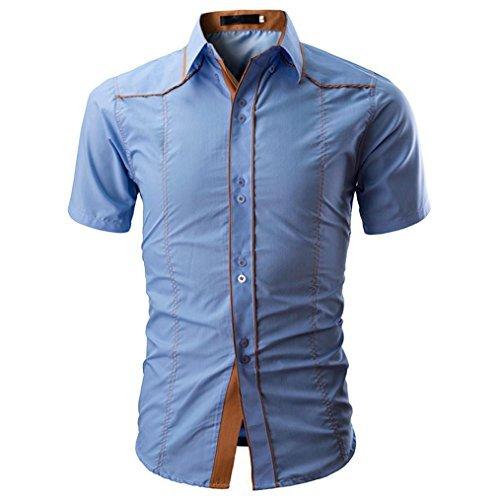 moonuy T-Shirt farblich für Hemd Herren Kurzärmliges Hemd Sommer Frühling Short Sleeve Shirt Top Damen Bluse der Mode Kostüm gelegentlichen Slim Men Shirts, L, blau, 0