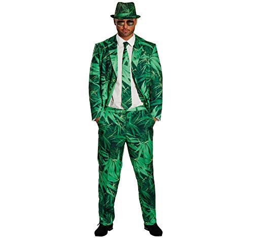 Unbekannt Herren Kostüm Cannabis Anzug Hanf Gras Jacket Hose Krawatte und Hut Party Karneval (54)