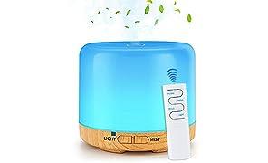 NEWKBO 200ml Aroma Difusor, USB Grano De Madera Ultrasónico Aromaterapia Esencial Humidificador De Aire Mini Cool Mist Maker Con 7 Colores Luz LED Para Oficina Hogar Dormitorio Control Remoto De Viaje