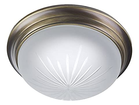 Ceiling light round Frosted Cut Glass Decorative Ring Antique Brass Vaulted Diameter 22 cm