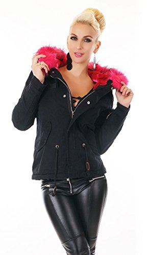 Kurzparka mit kuschligen Teddy-Futter und Kunstfellkragen in schwarz / pink Schwarz / Pink