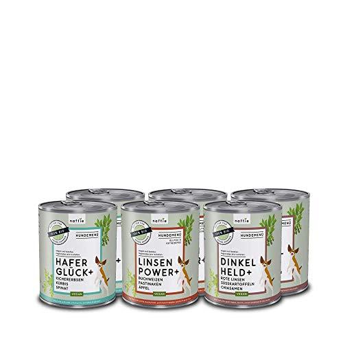 naftie veganes Hundefutter Mixpaket | Bio Nassfutter Menü Spar-Paket mit 3 Sorten | rein pflanzliche Zutaten | 6 x 800 g Dosen