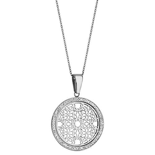 Halskette Verstellbare Länge: 45 bis 50 cm Runde Anhänger Muster Rosette Contour Resin Straß Weiß Edelstahl -