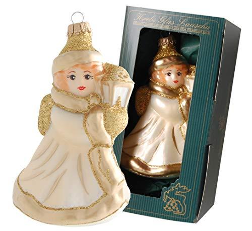 Krebs Glas Lauscha Engel beige/Gold mit Laterne aus Glas - Christbaumschmuck - Weihnachtsbaumanhänger - 13cm