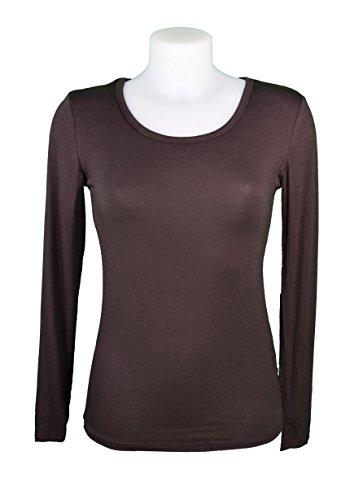 Miss Rouge:T-Shirt, sous Pull Femme à Manches Longues,Viscose Brun
