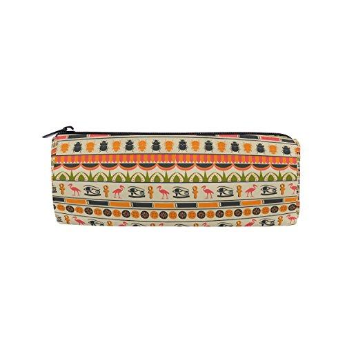 Coosun Ägyptische Ornament Zylinder Federmäppchen mit Kugelschreiber und Schreibwaren Beutel Tasche Kosmetik-Make-up-Tasche (Ägyptische Baumwolle Spielzeug Tasche)