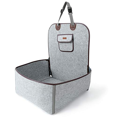 FELICIGG Retro Dual-Use-Haustier-Auto-Matte Hund Sub-Sitz Sitzkissen Filz Tuch vordere Reihe Auto Matratze (Color : Gray, Size : 45X45X60CM)
