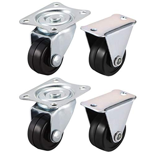 ZCHXD 1 Inch Casters Wheels Rubber Top Plate Mounted Swivel Fixed Caster Wheel, 33lb Total Capacity, 4 Pcs (2 Pcs Swivel, 2 Pcs Fixed) -