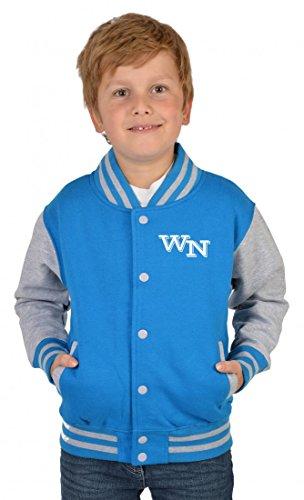 USA Collegejacke für Jungen mit persönlichen Initialien in türkis - Kinder Jacke Schule Freizeit Geschenk, Kinder Größe:XL / 152
