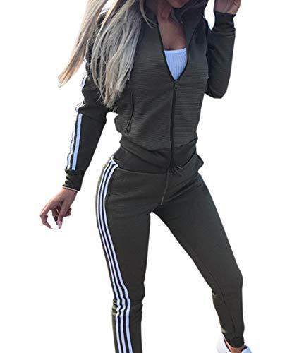 Moceal Mode Streifen Trainingsanzug Frauen Lange Ärmel Zipper Top + Lange Hose Sportswear 2 Stück Set Sport Yoga Outfit, Armygrün, M