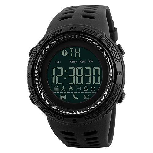 QHLJX Smart Watch, Männer Bluetooth 4.0 Digitale Sportuhr Wasserdicht Military Schrittzähler Kalorienzähler Schlaf Monitor Anruferinnerung, EL Hintergrundbeleuchtung, für Android/iOS