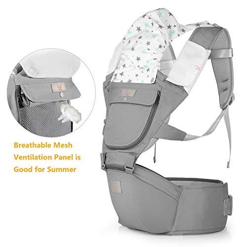 Imagen para GAGAKU Portabebés con Asiento de Cadera 8 en 1 Ergonómica Mochila Porta Bebé para Recién Nacido Niños Pequeños - Gris