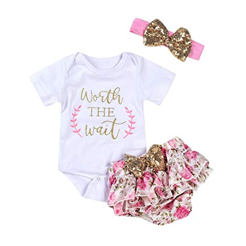 - Mingfa Kleidungsset für Neugeborene, 3-teilig, mit Blumen und Schriftzug, bedruckter Strampelanzug, Shorts und Stirnband, für Babys, Mädchen, 3M, weiß, 1