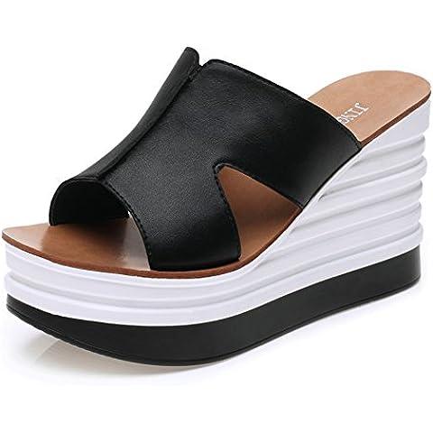 Damas modernas verano sandalias de cuña bombas de la plataforma de elevación Zapatillas bombea los zapatos casuales