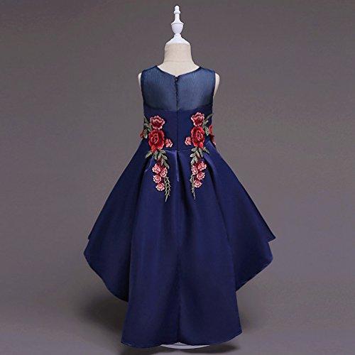 WanYang Abito Ragazza Cerimonia Abiti Da Sposa Abito Da Principessa Gonna Irregolare Abito Ricamato Bambini Vestito Blu