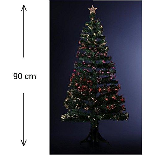 DECORACIÓN NAVIDAD - Arbol de Navidad artificial de fibra óptica + 88 RAMAS con Variación luminosa- Entregado con su pie - Alto 90 cm - Color VERDE