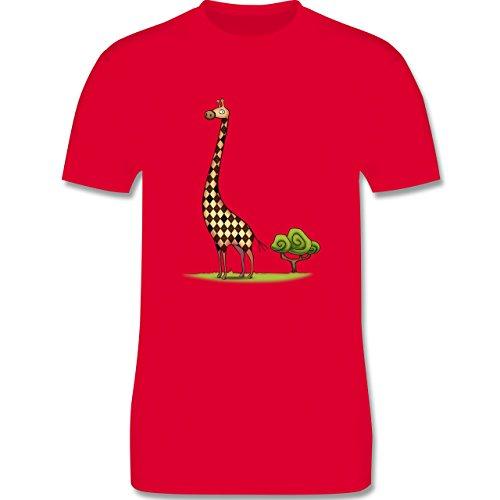Wildnis - Lange Giraffe - Herren Premium T-Shirt Rot