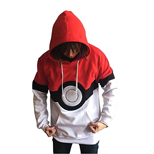 Plus size unisex Red Pokemon felpa con cappuccio, maglione, Jumper, causale Wear Fancy Dress taglia XL
