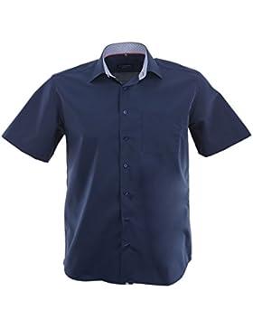 ETERNA Herren Kurzarm Hemd Comfort Fit Chambray Modern-Kent blau mit Patch 8500.19.K15P