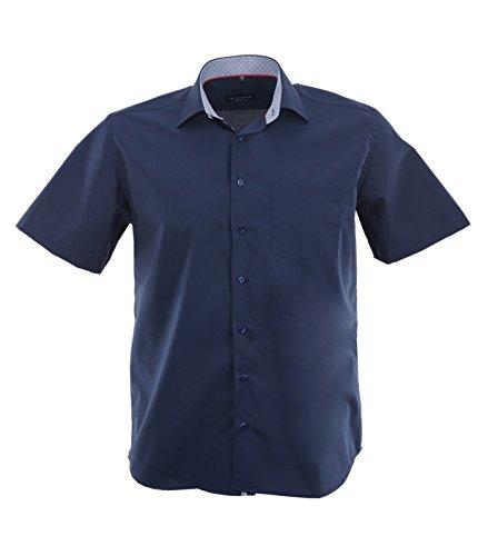 ETERNA Herren Kurzarm Hemd Comfort Fit Chambray Modern-Kent blau mit Patch 8500.19.K15P Blau