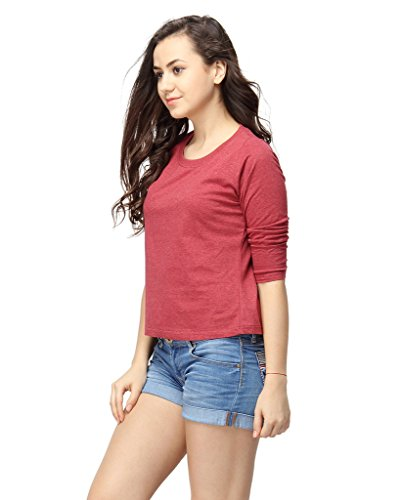 Campus Sutra Women's Cotton Round Neck Quarter Sleeve T-Shirt 2