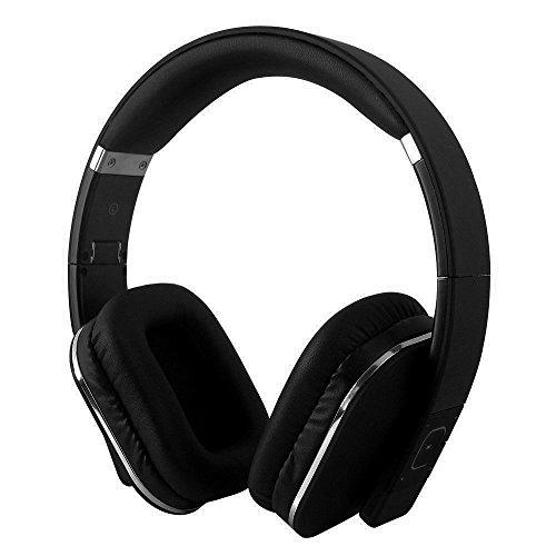 August EP650 - Bluetooth NFC Kopfhörer mit aptX Technologie - mit Lederohrpolster (Schwarz)