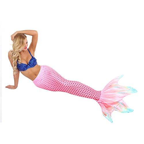 YiZYiF Damen Meerjungfrau Flosse Meerjungfrauenschwanz für Erwachsenen Mädchen Schwimmen Cosplay Mermaid Strand Deko Rose XL