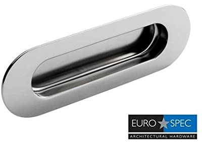 Flush Oval Radius Recessed Sliding Door Pull Handle - Satin Brushed Stainless Steel