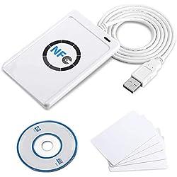 TOPINCN Lecteur Carte ID Carte RFID NFC ACR122U ISO14443 A/B – Lecteur/graveur Intelligente Contactless pour sécurité de Maison, uffficio