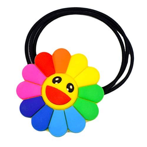 Shaoyanger Haar-Accessoires, wunderschöner Regenbogen-Sonnenblumen-Pferdeschwanz-Halter, elastisches Band, Krokodilklemme (Regenbogen Farbigen Tanz Kostüm)