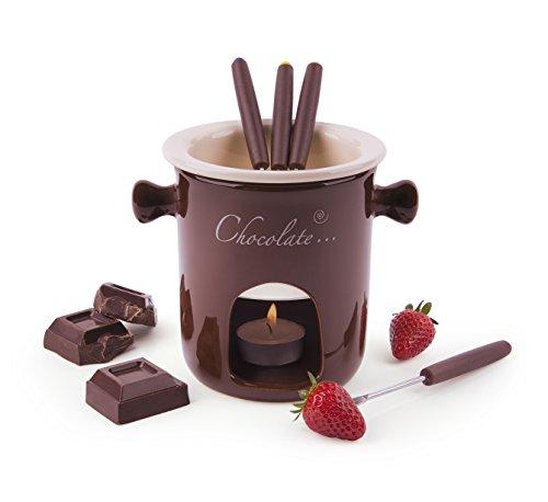 Excelsa Chocolate Service à Fondue au Chocolat, 7pièces, céramique, crème/Marron, Manche Marron, 12x12x13,5cm