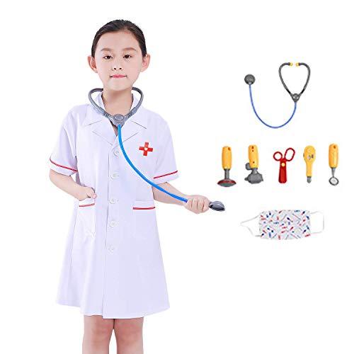 Mädchen Doktor Laborkittel Kostüm Kinder Doktor Halloween Kostüm mit Stethoskop (Kinder Halloween-kostüm Doktor)