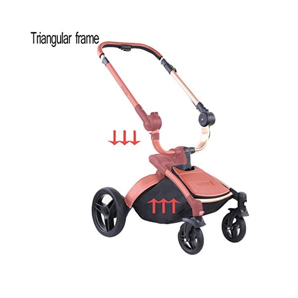 Stroller, Two-Way SUV-Class Stroller, High-Profile Light Folding Baby Four-Wheeled Cart YSSY - Triangular frame, greatly improving the load-bearing and shock-absorbing performance of the body. - High-end environmentally-friendly PU leather, waterproof and anti-fouling, a clean wipe. - SUV-level suspension design, easy to apply to a variety of road surfaces. 3