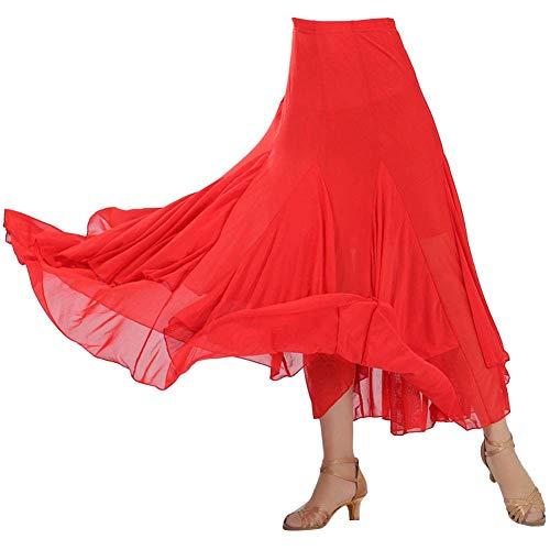 Kostüm Swing Tanz - Damen Tanzrock Swing Walzer Ballroom Tango Latein Kostüm Maxirock Faltenrock Rot Einheitsgröße