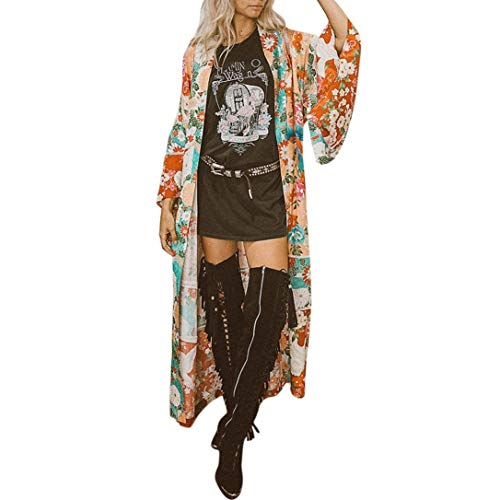 Cardigan Damen Lang Mode Kimono Langarm Vintage Elegante Sommer Blumenprint Festlich Bekleidung Loose Lässig Hippie Boho Ethno-Style Strand Bikini Cover Up Strandtunika (Color : Orange, Size : 2XL) -