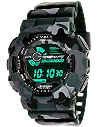 TIMEWEAR Multicolor Dial Army Green Strap Digital Sports Watch for Men - 1116GTWD