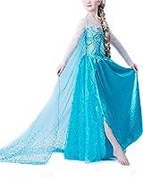 Splendido abito da regina delle nevi, per bambine. Adatto per ogni occasione: compleanno, carnevale, festa, abito da sera. Splendido e di alta qualità, perfetto per assomigliare a una vera principessa, proprio come Elsa. Manutenzione: lavabil...