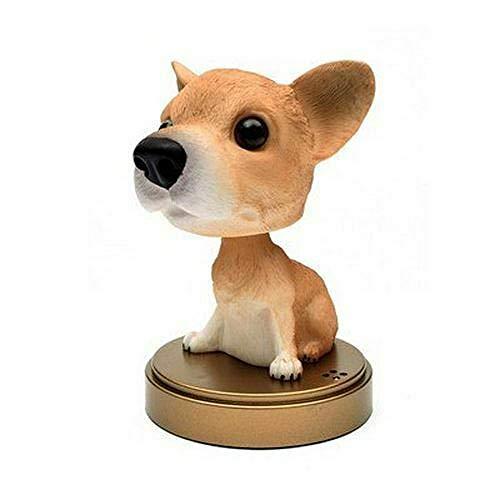 YAOHEHUA Skulpturen Deko Hochzeit Cartoon Hund Puppe Figuren Ornament Auto Parfüm Dekor Kopfschütteln Tiermodell 1 Kopfskulpturen Statuen