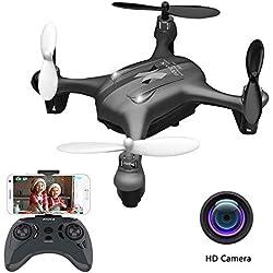 ATOYX AT-96 Drone avec Caméra HD Hélicoptère FPV Avion Mini WiFi Drone Quadcopter avec Mode sans Tête Avion Mini Télécommandé Cadeau Jouet pour Enfant ou Débutant - Noir