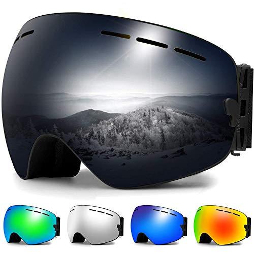 Zerhunt Skibrille, Snowboard-Schutzbrillen mit Anti-Nebel,UV-Schutz,Winddicht Skibrille für Wintersportarten, Skifahren, Skaten, Damen,Herren,Brillenträger(Schwarz)