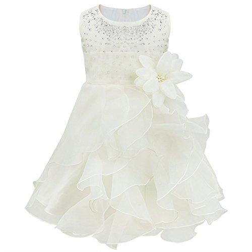 Freebily Vestido de Princesa Bautizo Comunión Ceremonia Fiesta Fotografía para Bebé Niña Regalo para Recién Nacido Marfil 9-12 Meses