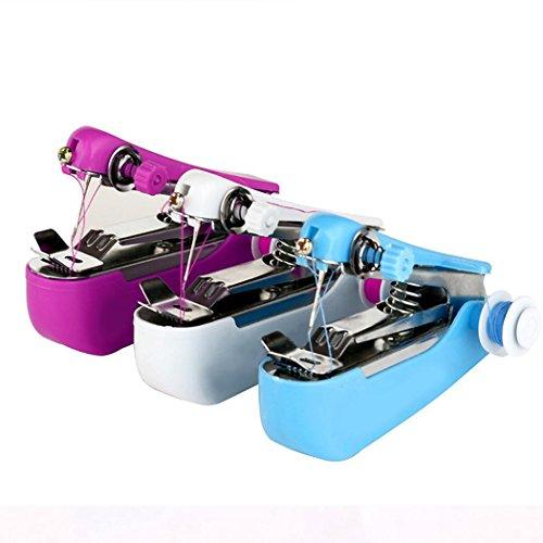 Gfone Mini Nähmaschine Tragbare Handnähmaschine Schnellstichwerkzeug DIY für Kleidung Stoff Vorhang Stecknadeln