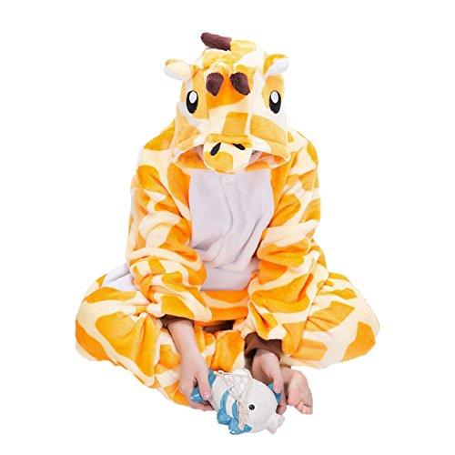 Imagen de tuopuda kigurumi pijama animal entero unisex para niños con capucha ropa de dormir traje de disfraz para festival de carnaval halloween navidad s = 90  100 cm height, jirafa amarilla  alternativa