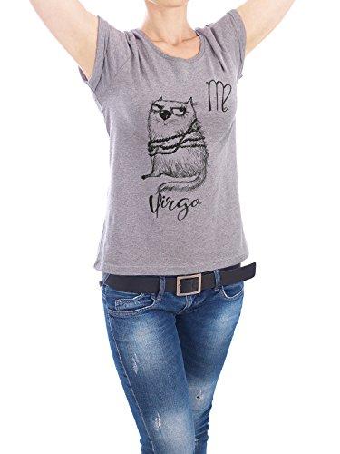 "Design T-Shirt Frauen Earth Positive ""Virgo cat"" - stylisches Shirt Tiere Comic von Tatiana Davidova Grau"