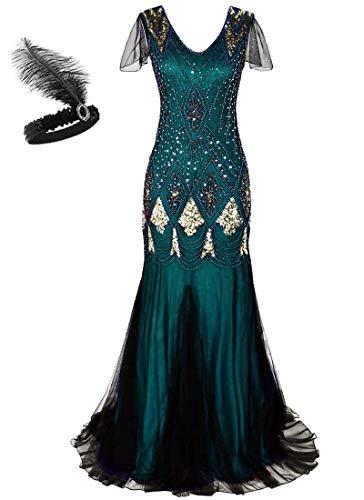 Generic Frauen 1920er Jahre Long Abendkleid Perlen Pailletten Meerjungfrau Hem Ball Abendkleid mit Ärmel Stirnband frei (L, Green Gold)