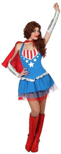 ATOSA 23124 - Superheldin Kostüm, Größe XS-S, rot/blau