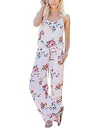 ea1d04b50edc7 BienBien Monos Mujer Sexy Largos Fiesta Jumpsuit Mono sin Mangas de Floral  Impresión Playsuit Romper Pantalones